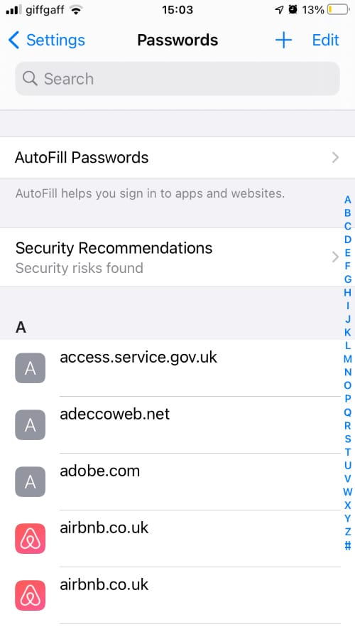 iPhone Passwords settings