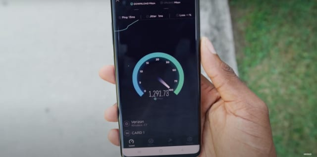 Marques Brownlee YouTube screenshot showing 5G speed test on smartphone