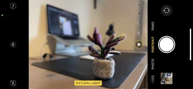 iPhone camera in Portrait mode with yellow lighting effect text