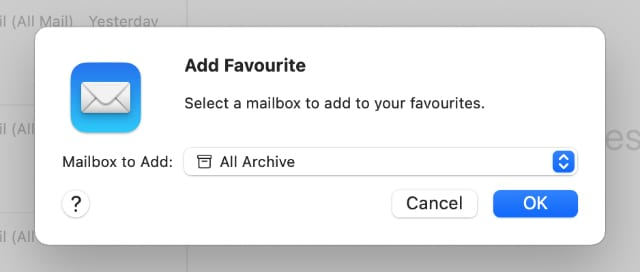Add Favorite All Archive option in Mail