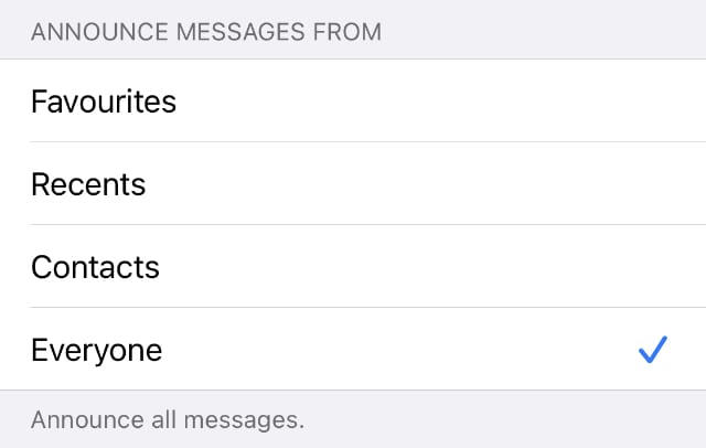 Announce Messages From options
