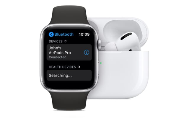 Apple Watch connected to AirPods