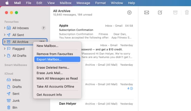 Export All Archive Mailbox option in Mail app on Mac