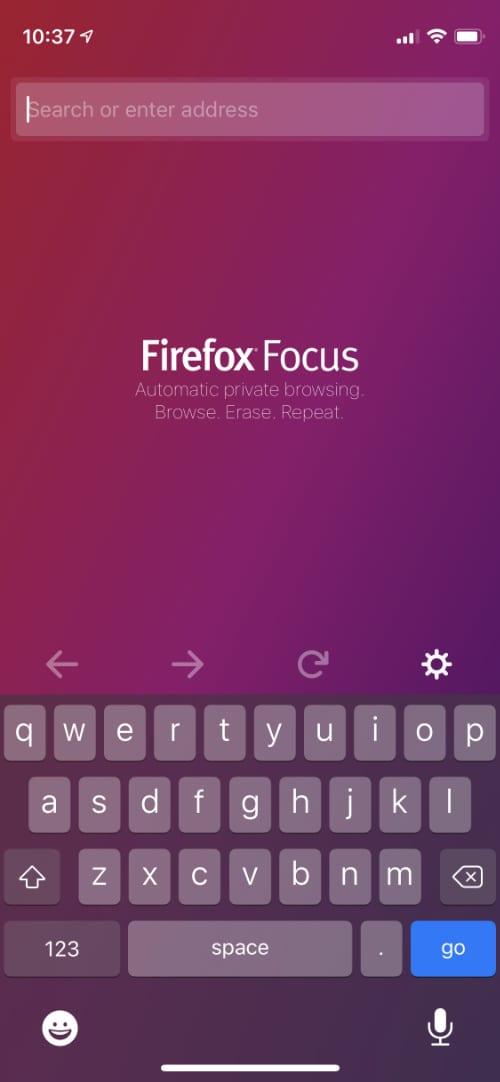 Firefox Focus home screen