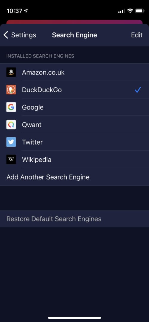 Firefox Focus search engine options
