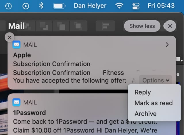 Mail alert notification with Archive email option on Mac