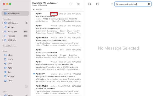 Mail search on Mac highlighting Archive results
