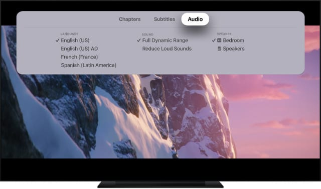 Playback settings menu for Apple TV