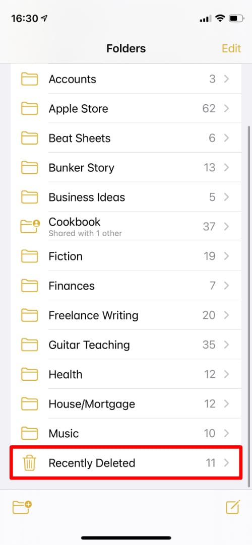 Recently Deleted folder in Folders page of Apple Notes