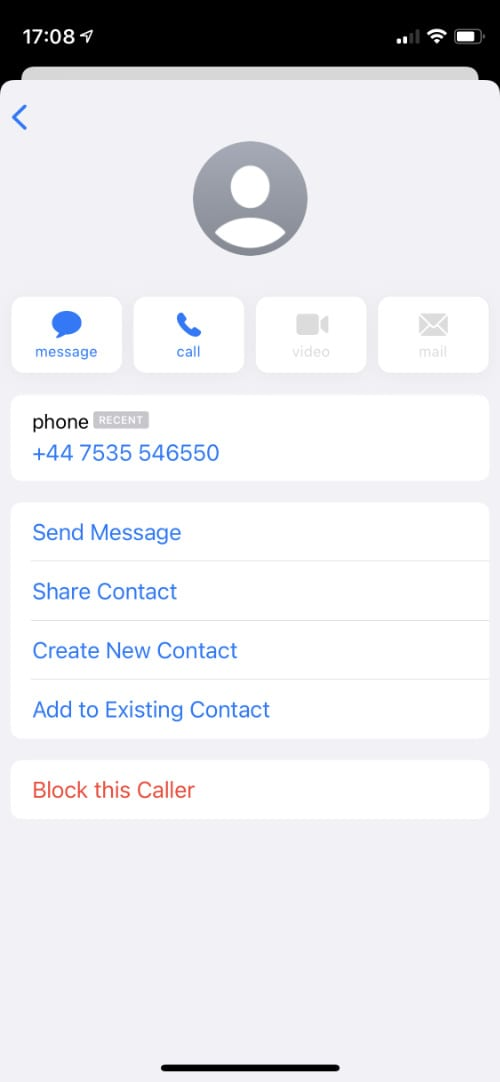 iPhone contact card with block option