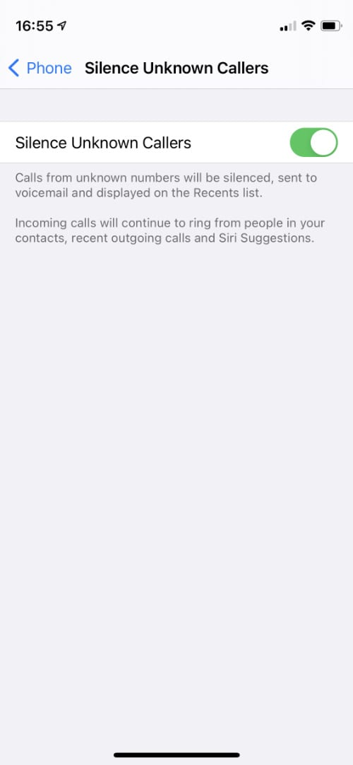 iPhone silence unknown callers option