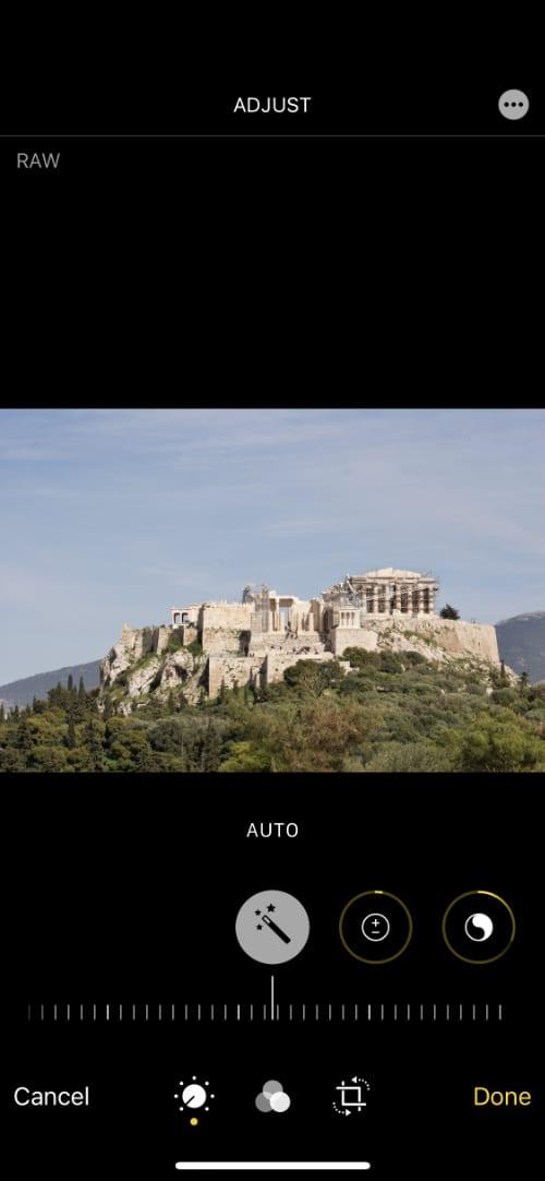 Adjust Auto Enhance iPhone editing options