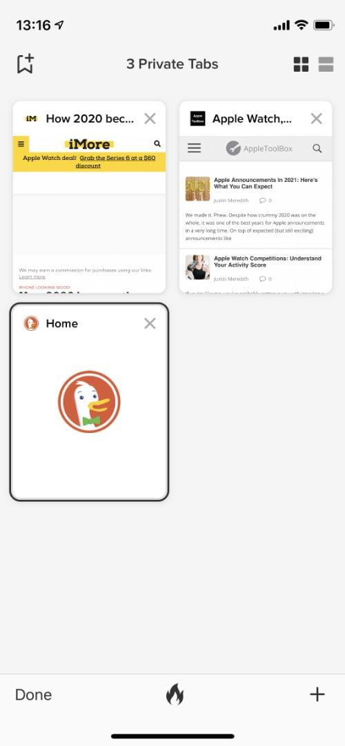 DuckDuckGo tabs screen