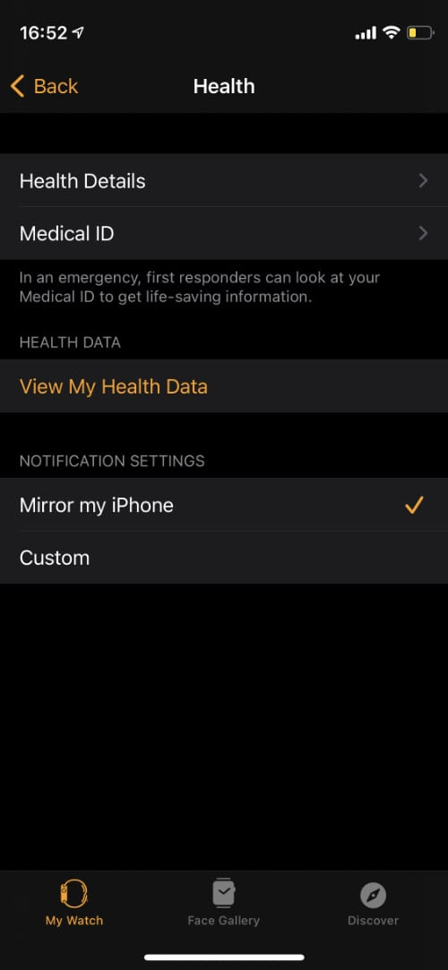 Health app settings for Apple Watch on iPhone