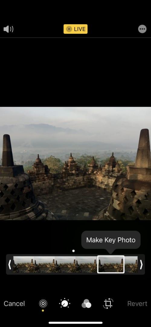 Live Photo iPhone editing options with Make Key Photo option