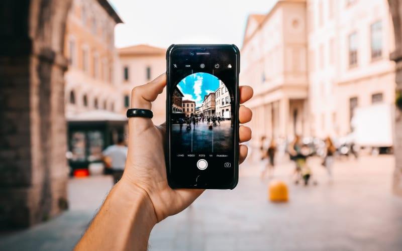 iPhone camera taking photo in scenic location