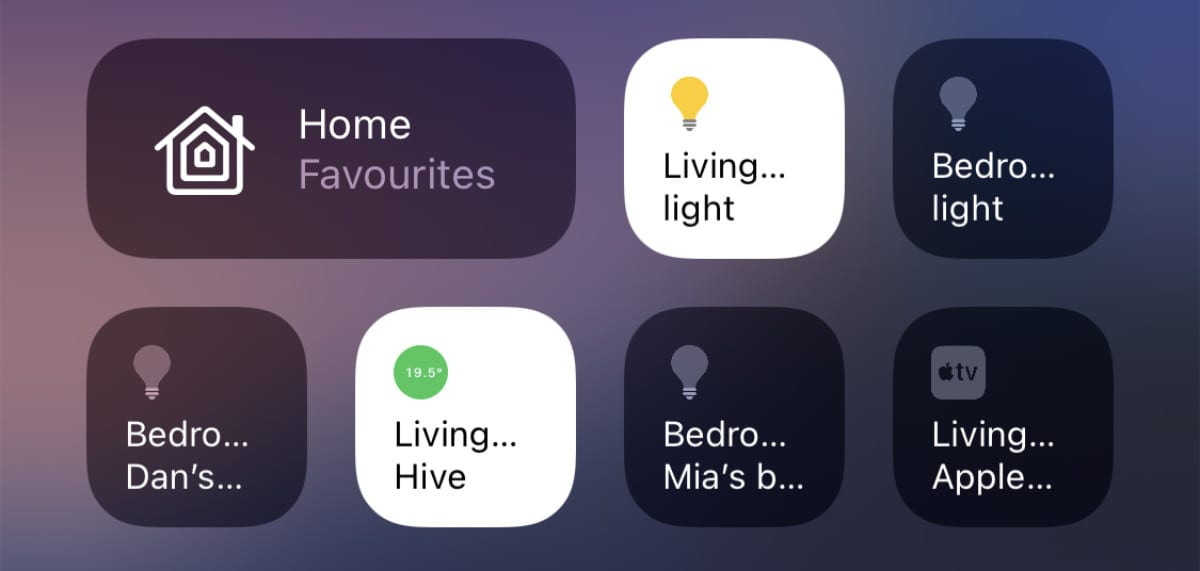 Home accessories in Control Center