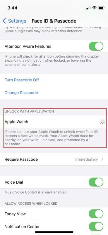 Unlock iPhone with Apple Watch iOS 14.5 2