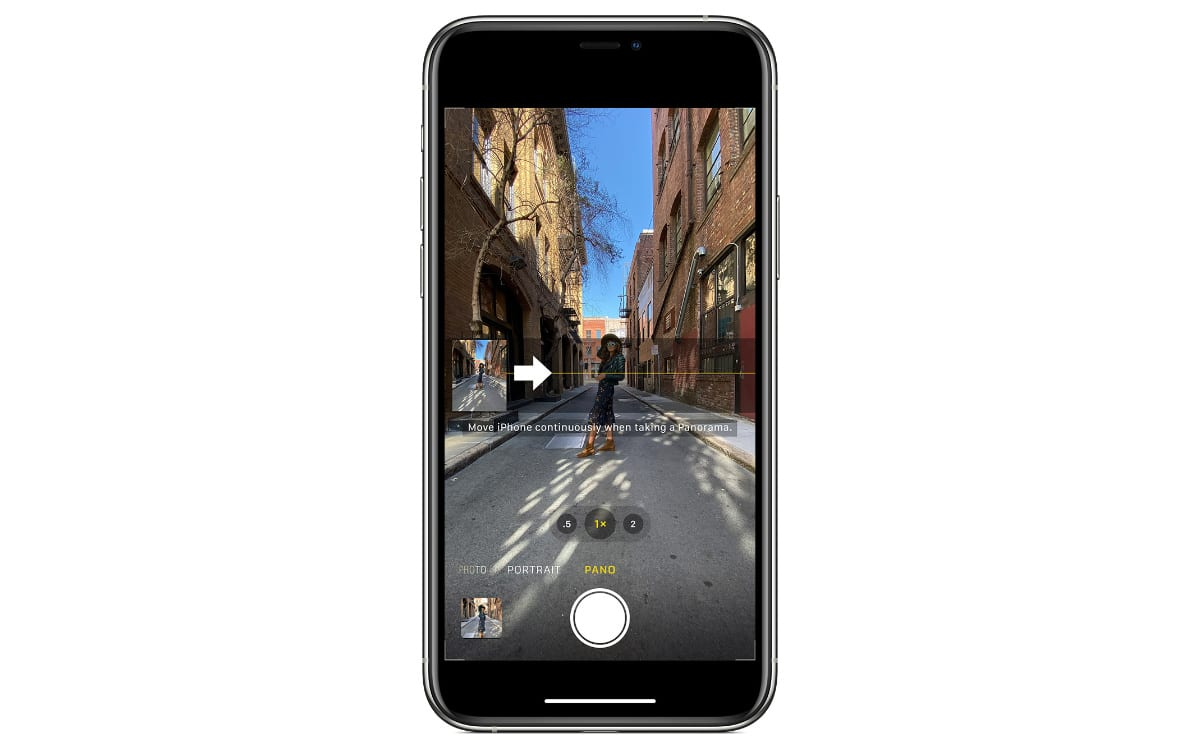 iPhone camera in Pano mode