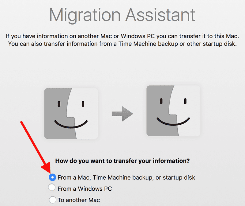 mac Setup Assistant migrate from another mac
