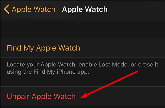 unpair apple watch from iphone