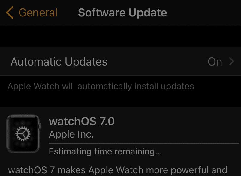 update apple watch on iphone