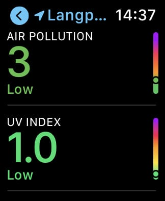 Apple Weather air quality on Apple Watch.