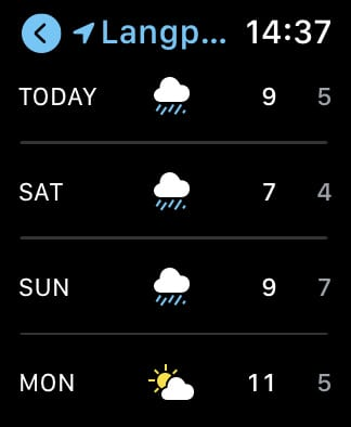 Apple Weather forecast on Apple Watch.