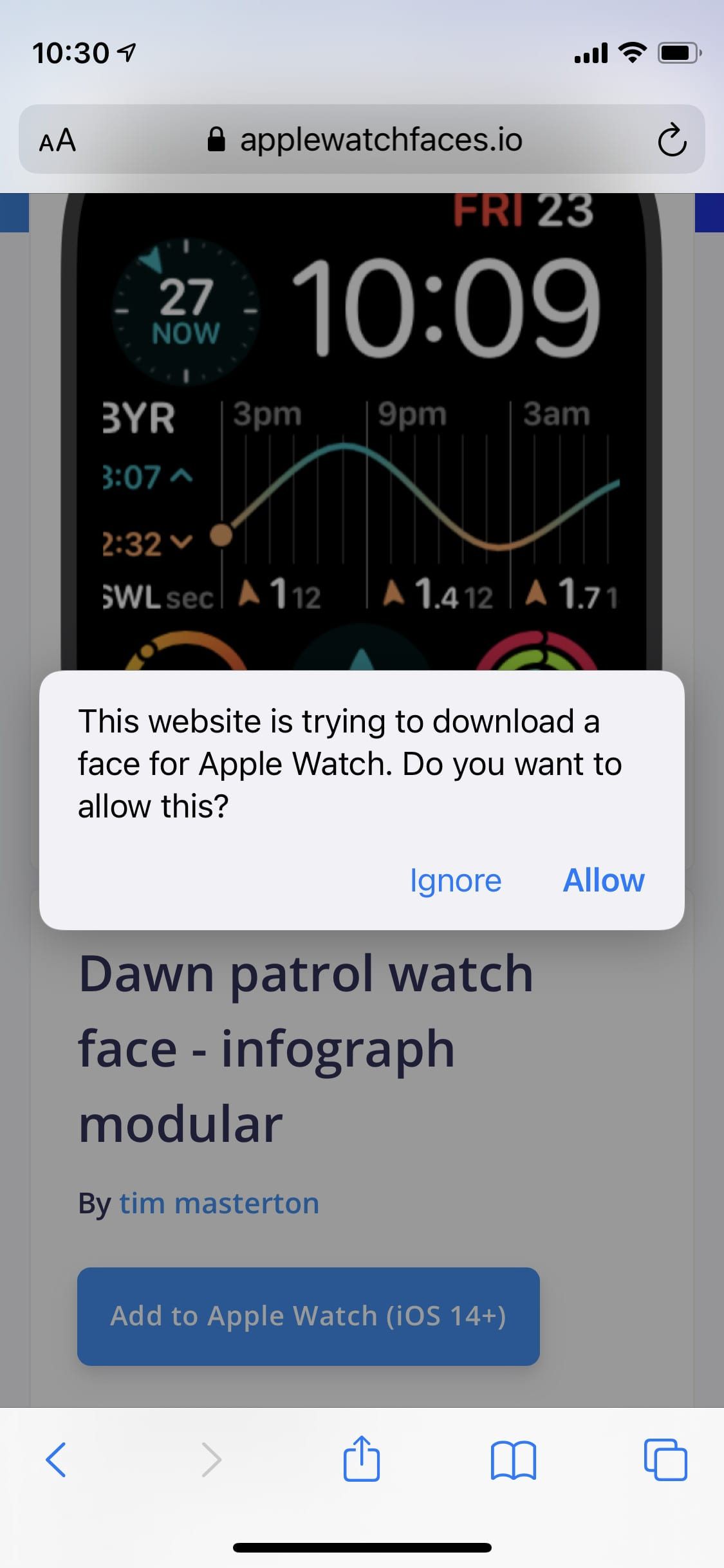 AppleWatchFaces.io asking for permission to open the Watch app.