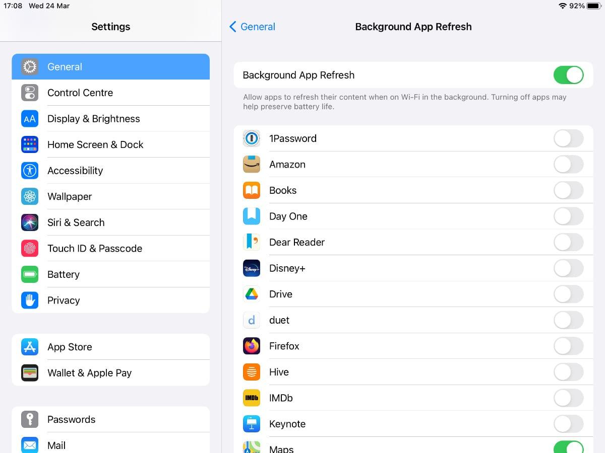 Background App Refresh settings on iPad.