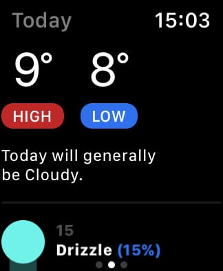 ClimaCell today summary on Apple Watch.