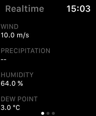 ClimaCell weather details on Apple Watch.