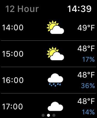 Forecast Bar forecast on Apple Watch.