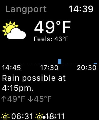 Forecast Bar home screen on Apple Watch.