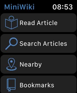MiniWiki home screen.