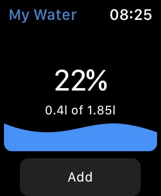 My Water app home page.