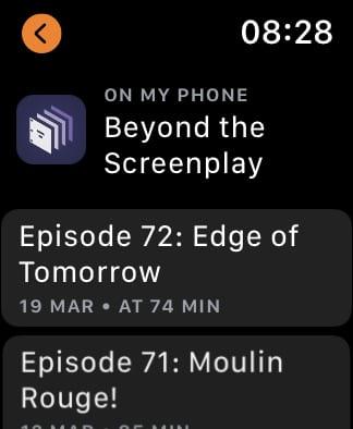 Overcast list of episodes.