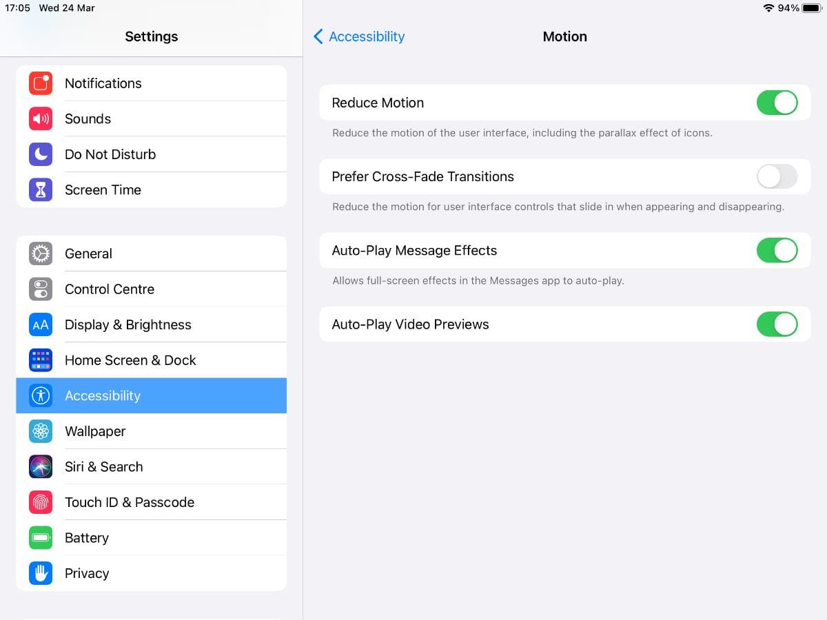 Reduce Motion option in iPad settings.