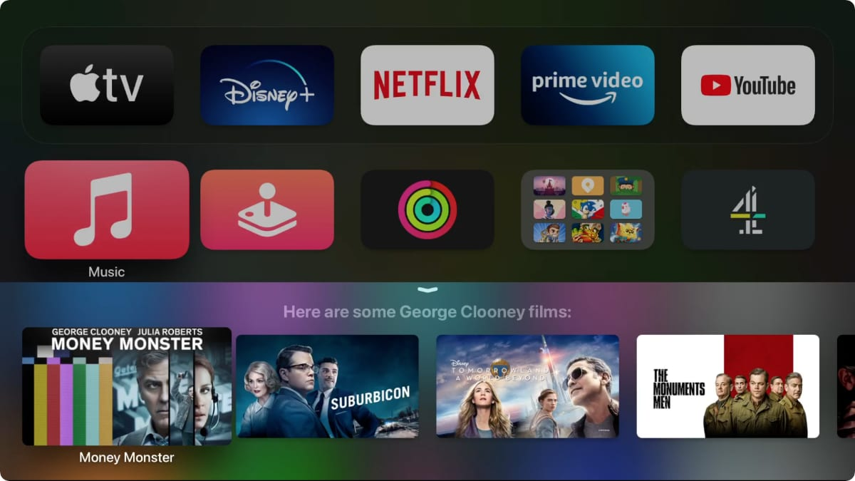 Siri searching for George Clooney movies on Apple TV