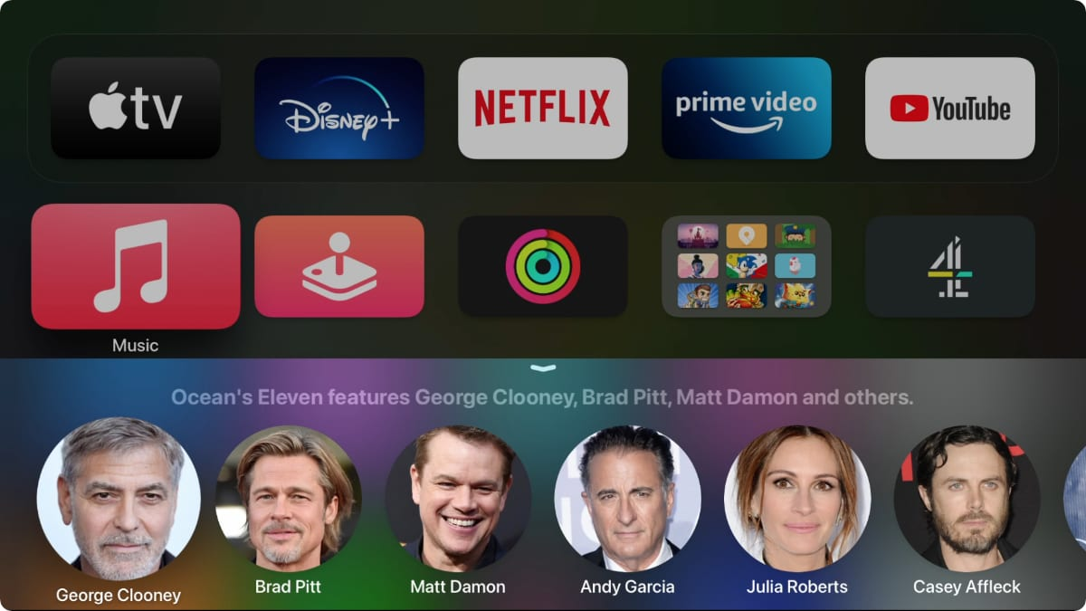 Siri showing the cast of Ocean's Eleven on Apple TV