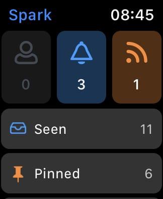Spark home screen.