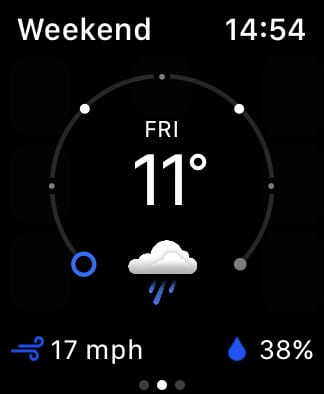 The Weather Channel app showing weekend forecast.