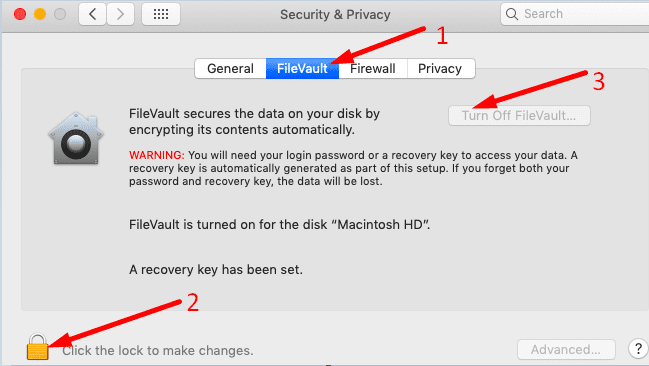 Turn Off FileVault macbook