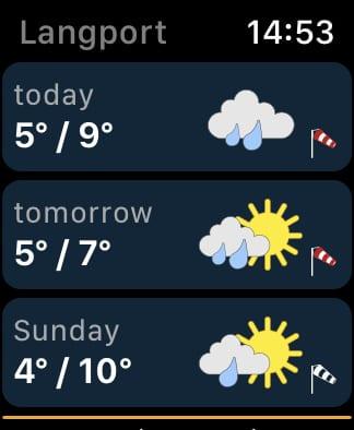Weather & Radar app forecast.