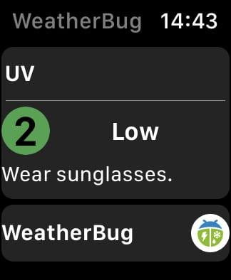 WeatherBug UV rating.