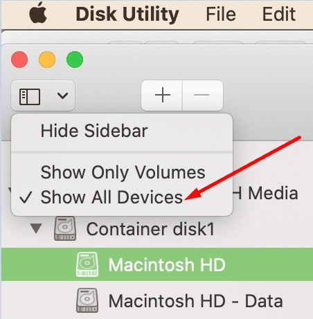disk utility show all devices macbook