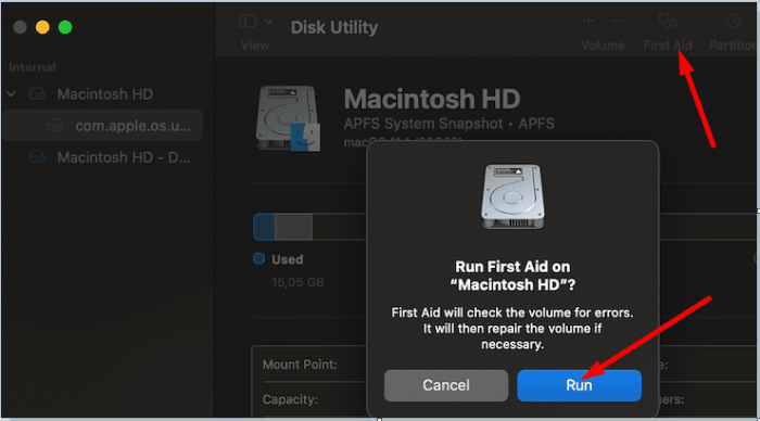 macbook disk utility first aid