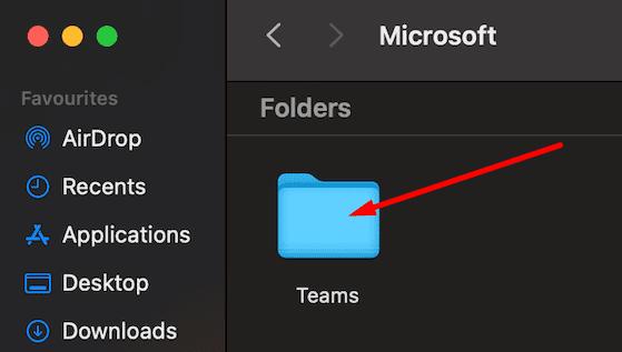 microsoft teams folder macbook