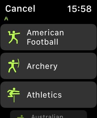 All workouts list on Apple Watch