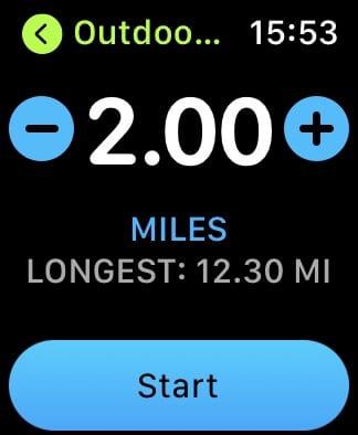 Apple Watch workout goal.